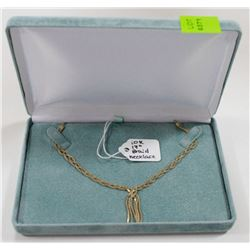 """10 KT GOLD BRAIDED NECKLACE 17"""""""