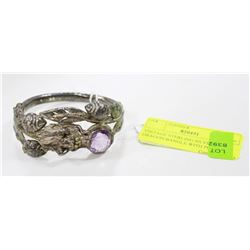 VINTAGE STERLING SILVER DRAGON BANGLE WITH PURPLE