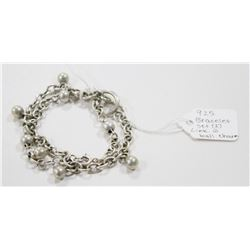 925 SILVER BRACELET SET BALL LINK WITH CHARM