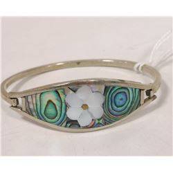 925 SILVER BANGLE WITH MOTHER OF PEARL AND