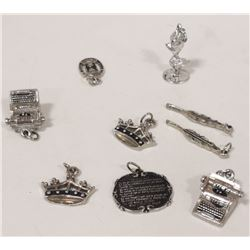 ASSORTED SILVER CHARMS TYPEWRITER AND MORE