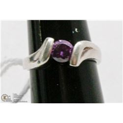 925 SILVER RING WITH PURPLE CUBIC