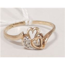 10 KT GOLD RING HEART WITH DIAMOND SIZE 6.75