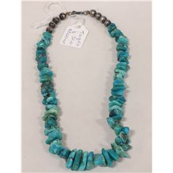 TUMBLED TURQUOISE NECKLACE WITH SILVER CLASP