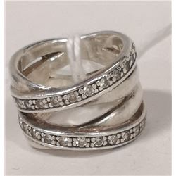 STERLING SILVER CROSS OVER RING WITH CUBICS