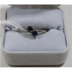 STERLING SILVER RING WITH BLUE STONES