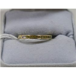 10 KT GOLD AND DIAMOND CHANNEL SET RING