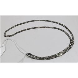"""925 SILVER FIGARO LINK CHAIN 24"""" 12G"""