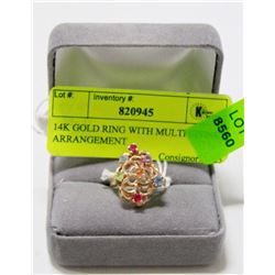 14K GOLD RING WITH MULTI STONE ARRANGEMENT
