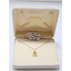 14 KT GOLD SINGAPORE CHAIN WITH 14K ROSE PENDANT