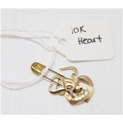 LOT OF 6, 10 KT GOLD HEART PENDANTS