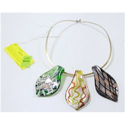 MURANO ITALY ART GLASS NECKLACE WITH 3 PENDANTS
