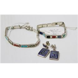 STERLING SILVER INLAID BRACELETS WITH MATCHING