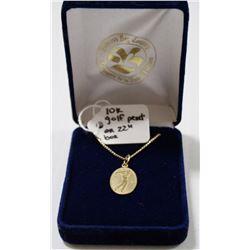 "10 KT GOLD GOLF PENDANT ON 22"" BOX CHAIN"