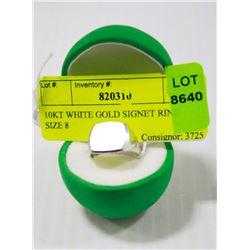 10KT WHITE GOLD SIGNET RING SIZE 8