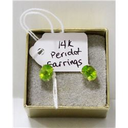 14 KT GOLD AND LARGE PERIDOT EARRINGS