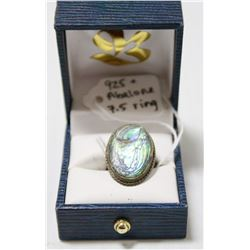 925 SILVER RING WITH ABALONE SHELL INLAY