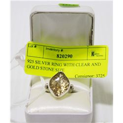 925 SILVER RING WITH CLEAR AND GOLD STONE SIZE