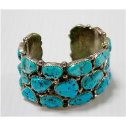 LARGE 120G SILVER AND TURQUOISE CUFF BRACELET