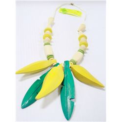 WOODEN TROPICAL BANANA NECKLACE WITH SHELL BEADS