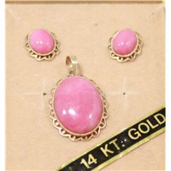 14 KT GOLD EARRINGS AND PENDANT WITH PINK STONE