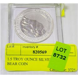 1.5 TROY OUNCE SILVER POLAR BEAR COIN