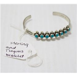 STERLING AND TURQUOISE CUFF BRACELET