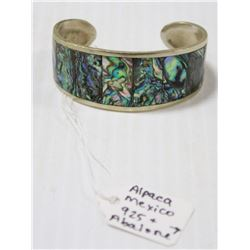 925 SILVER AND ABALONE SHELL CUFF BRACELET