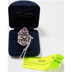 925 SILVER AND AMETHYST RING SIZE 7.25""