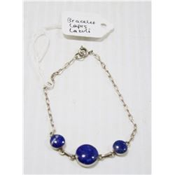 STERLING SILVER BRACELET WITH LAPIS LAZULI 7.5""