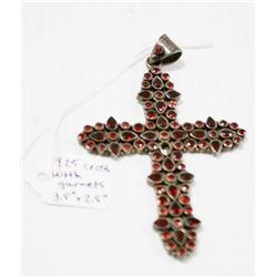 LARGE  VINTAGE STERLING SILVER CROSS WITH GARNETS