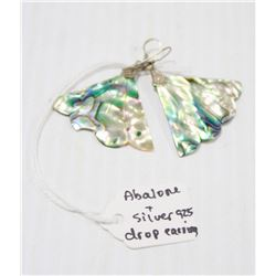 ABALONE AND SILVER BUTTERFLY DROP EARRINGS
