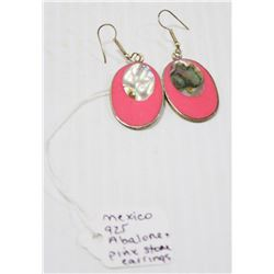 925 SILVER EARRINGS WITH ABALONE AND PINK STONE