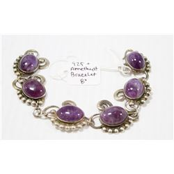 925 SILVER BRACELET WITH AMETHYST 8""