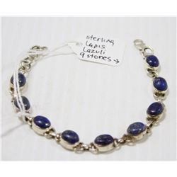 STERLING SILVER BRACELET WITH 9 LAPIS LAZULI