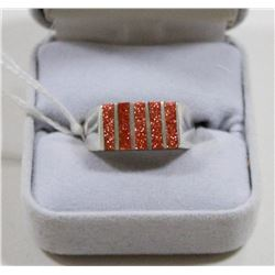 925 SILVER AND SUNSTONE RING SIZE 9.5
