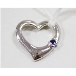 14 KT WHITE GOLD AND SAPPHIRE HEART PENDANT