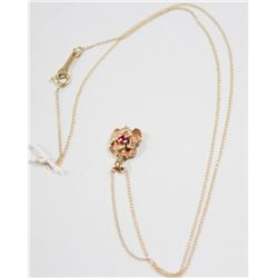 """14 KT GOLD NECKLACE WITH RUBY FLOWER PENDANT 16"""""""