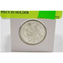 1964 CANADIAN SILVER 50 CENT PIECE IN HOLDER