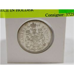 1959 CANADIAN SILVER 50 CENT PIECE IN HOLDER