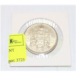 1965 CANADIAN SILVER 50 CENT PIECE IN HOLDER
