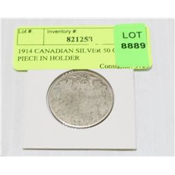 1914 CANADIAN SILVER 50 CENT PIECE IN HOLDER