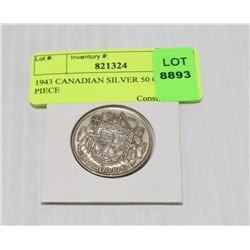 1943 CANADIAN SILVER 50 CENT PIECE