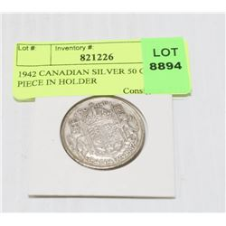 1942 CANADIAN SILVER 50 CENT PIECE IN HOLDER