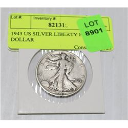 1943 US SILVER LIBERTY HALF DOLLAR