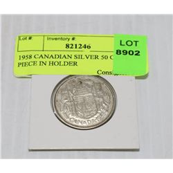 1958 CANADIAN SILVER 50 CENT PIECE IN HOLDER