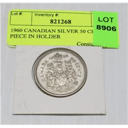 1960 CANADIAN SILVER 50 CENT PIECE IN HOLDER