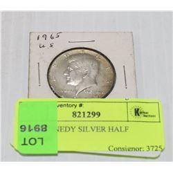 1965 KENNEDY SILVER HALF DOLLAR