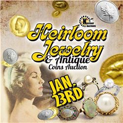 WELCOME TO THIS LIVE STREAMED/ TIMED CURIOSITY HEIRLOOM JEWELRY & CURRENCY AUCTION!