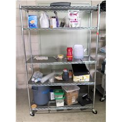 Metal Wire 4 Tier Shelf on Wheels (shelf only - contents not included)
